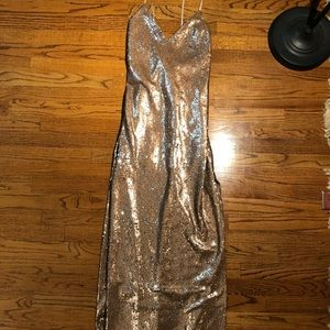 Beautiful Gold Sequin Slitted Gown
